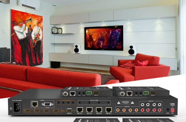WyreStorm's latest H2A Series 4K HDR HDBaseT 4x4 Matrix + 4x PoH Receiver Kit